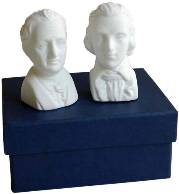 Goethe und Schiller Porzellan Salz und Pfefferstreuer